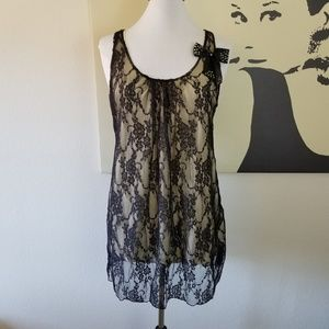 Black Lace Blouse with Ribbon 1X (NWT)
